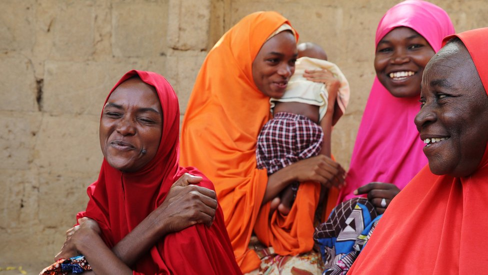 The mother of three of the newly-released Dapchi schoolgirls reacts in Dapchi, in the northeastern state of Yobe, Nigeria