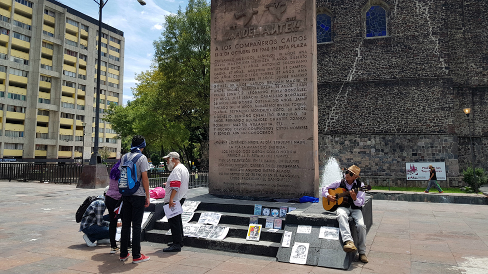 A monument to dead student protesters stands in Plaza de las Tres Culturas, Mexico City