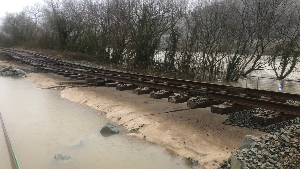 Conwy Valley Line rail lines with track bed washed away by storms