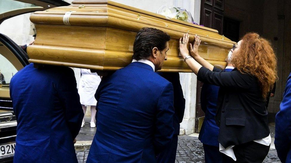 Mario Cerciello Rega coffin arrives at a church in Rome