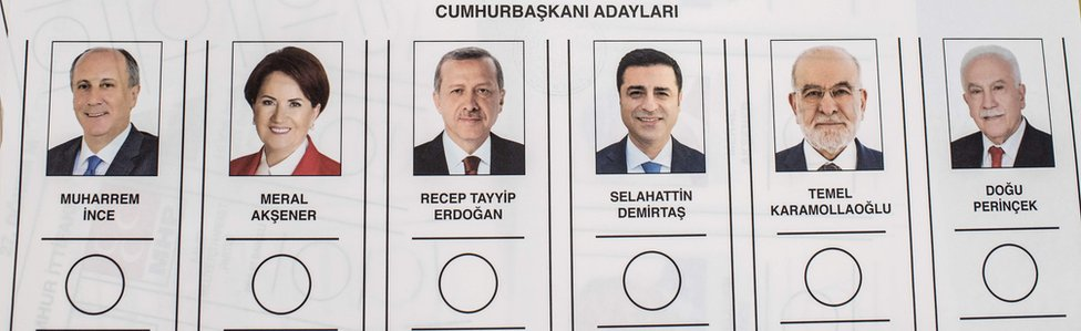 Ballot paper shows presidential candidates