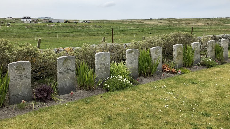 The graves of some of the men that died are in this Tiree cemetery
