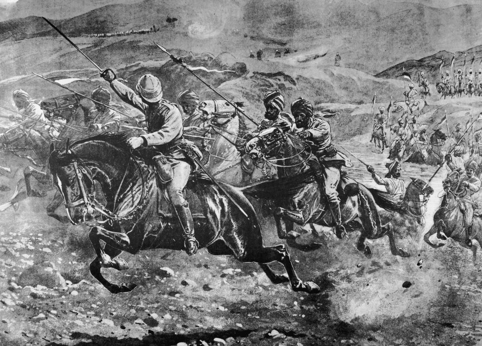 A sikh cavalry unit of the British Malakand Field Force charges on Pathan tribesmen controlling a crossing of the Swat river during the Chitral campaign, north-west India, 7th April 1895. Drawing by John Charlton after a sketch by Lionel James.