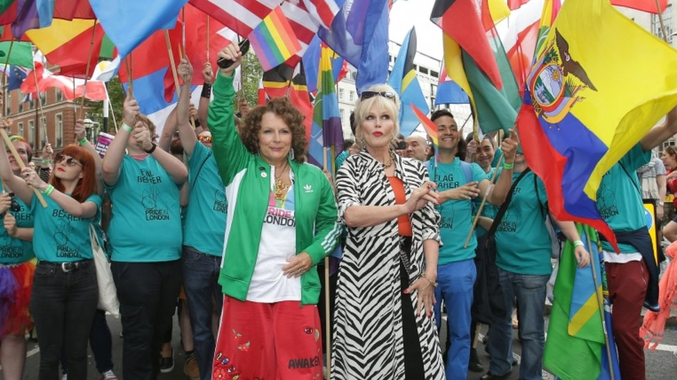 Jennifer Saunders and Joanna Lumley at the Pride parade