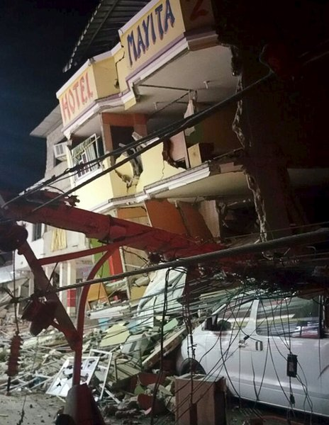A collapsed hotel in the city of Manta, 16 April