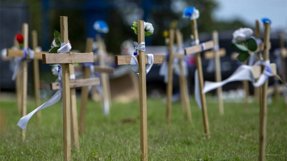 Several crosses in honour of people who died during the anti-government protests, in Managua
