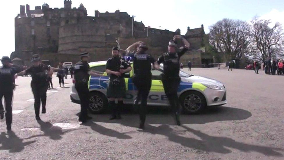 Police in Scotland dancing