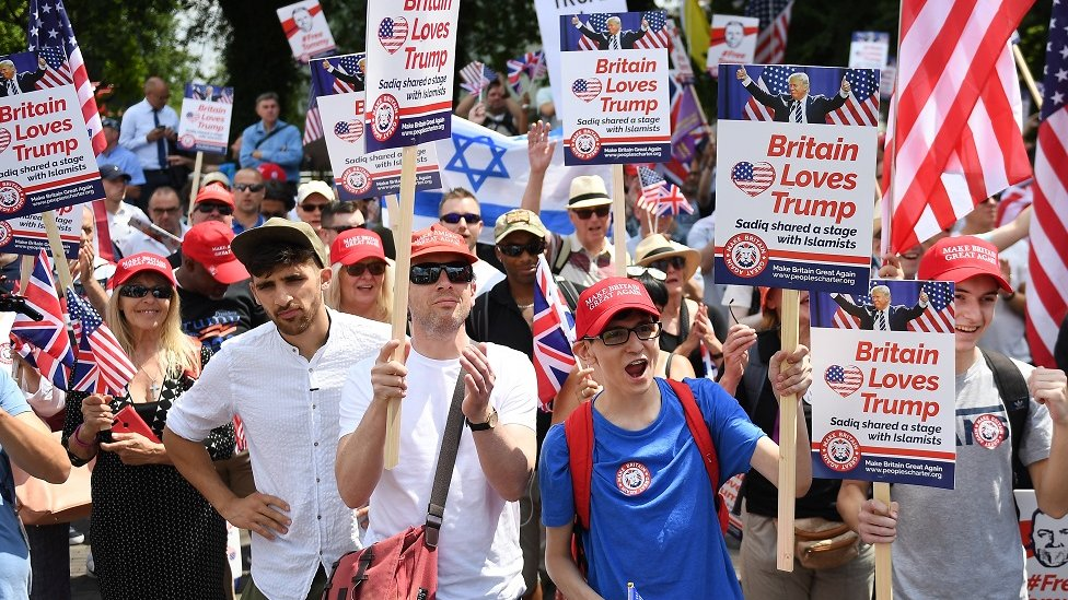 Trump supporters in London
