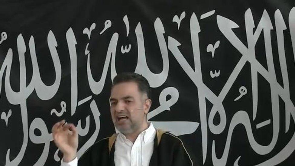 A screen shot showing Mundhir Abdallah give his sermon in Copenhagen in March