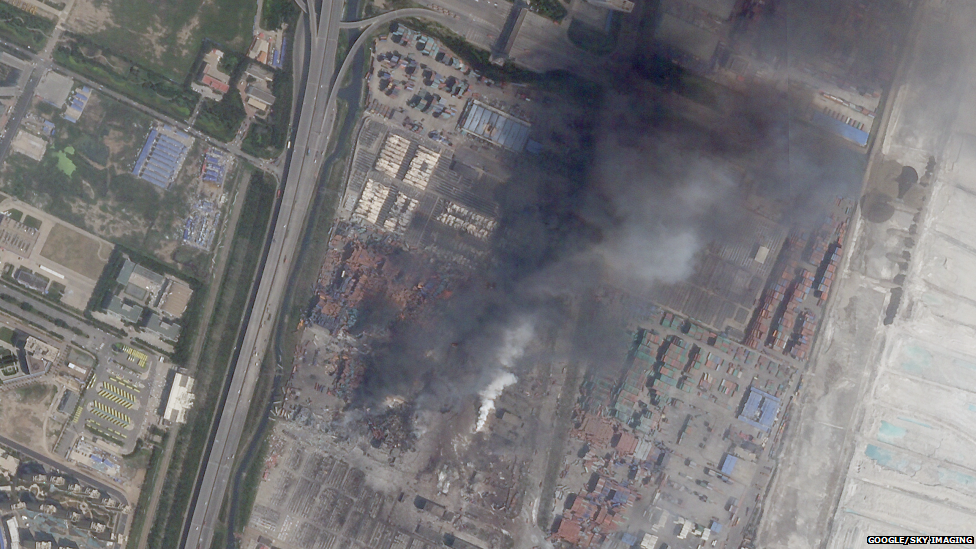 A satellite picture after the blasts