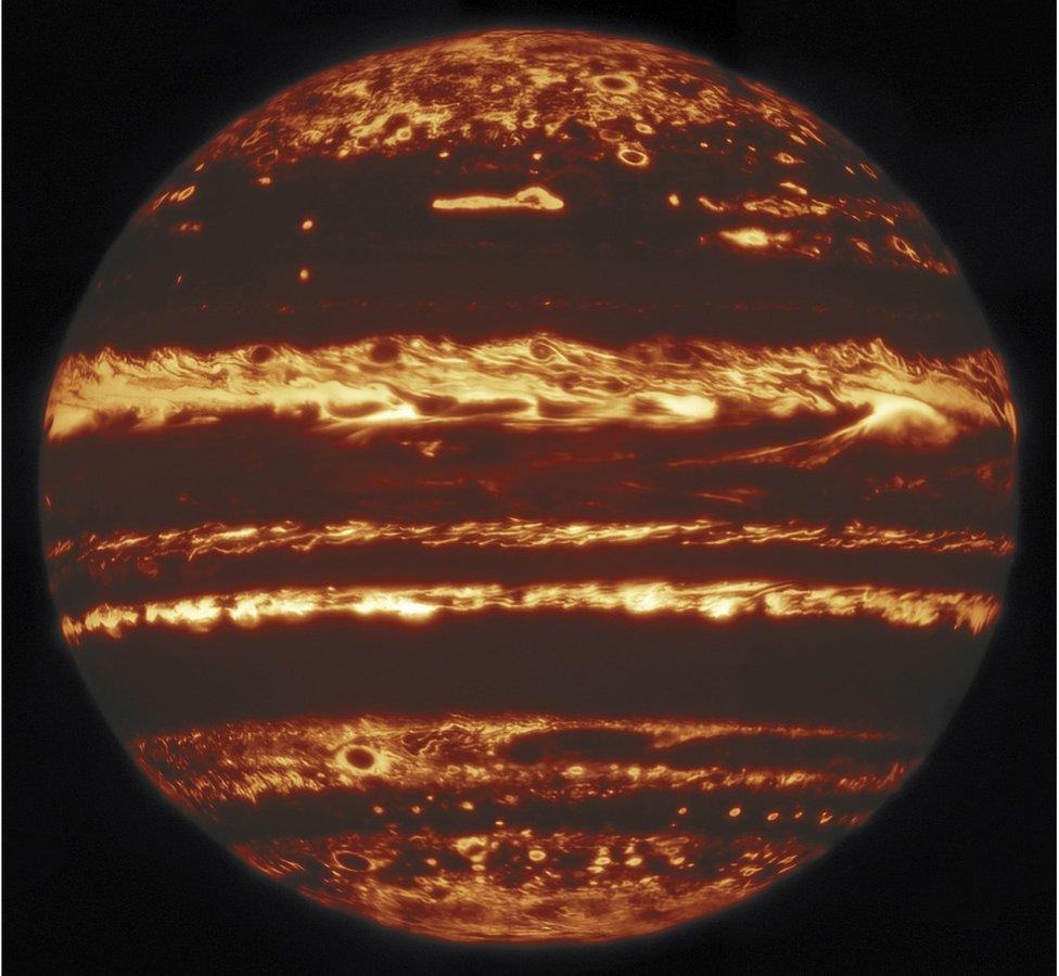 Una imagen infrarroja de Júpiter