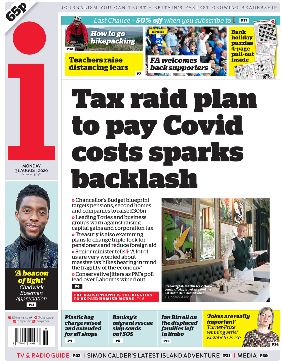 The i front page 31 August 2020