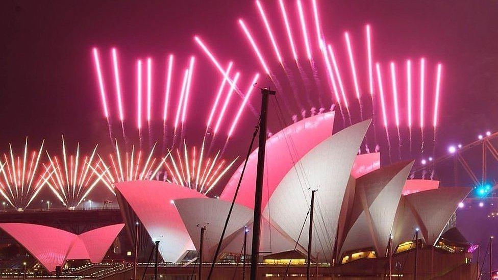 Fuegos artificiales en la Sydney Opera House