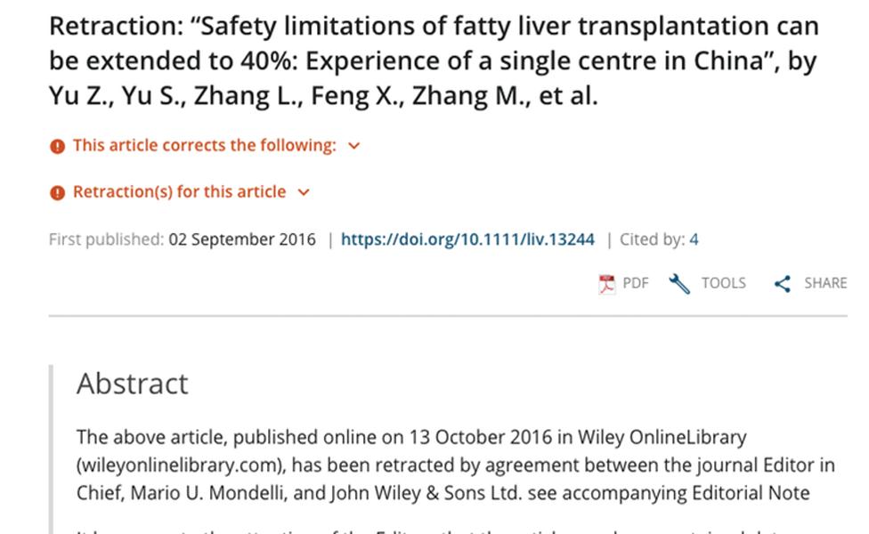 Retiro de un estudio sobre transplantes en China en 2017