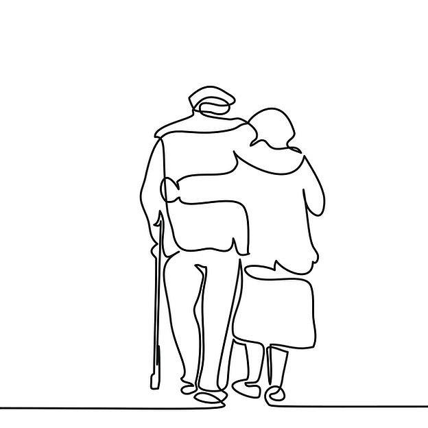 Silueta de pareja mayor caminando abrazados.