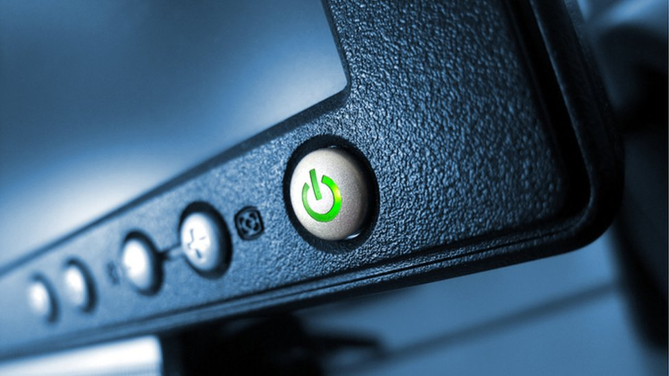Botón de encendido iluminado de verde