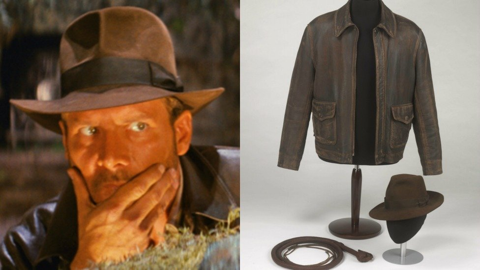 Indiana Jones and his jacket, hat and whip
