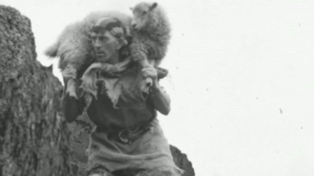An image showing a man playing a sheep bandit in a historical film