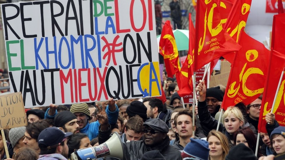 Students march during a protest in Paris plans to change France's 35-hour workweek to create new jobs