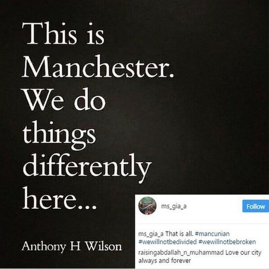"""Instagram quote """"This is manchester, we do things differently here"""". Credited to Anthony H Wilson. Anthony Wilson - or Tony, as he was more commonly known - was the founder of Manchester's famous Hacienda nightclub and Factory Records"""