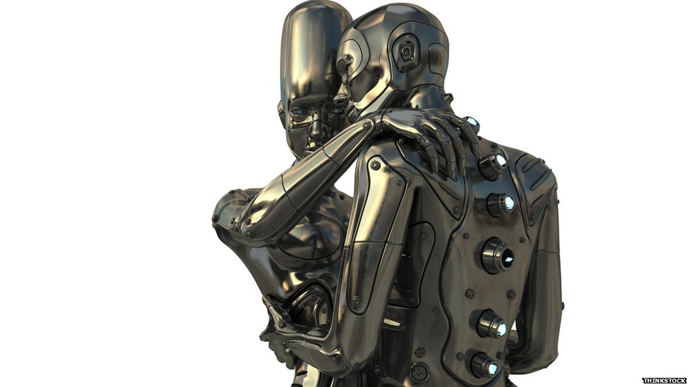 Two robots entwined