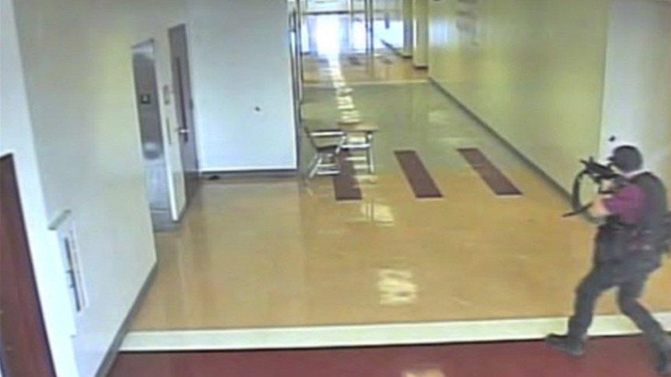 Nikolas Cruz pictured with weapon in halls