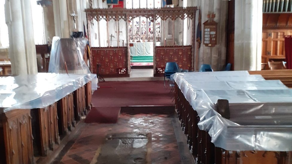 Coverings on church pews