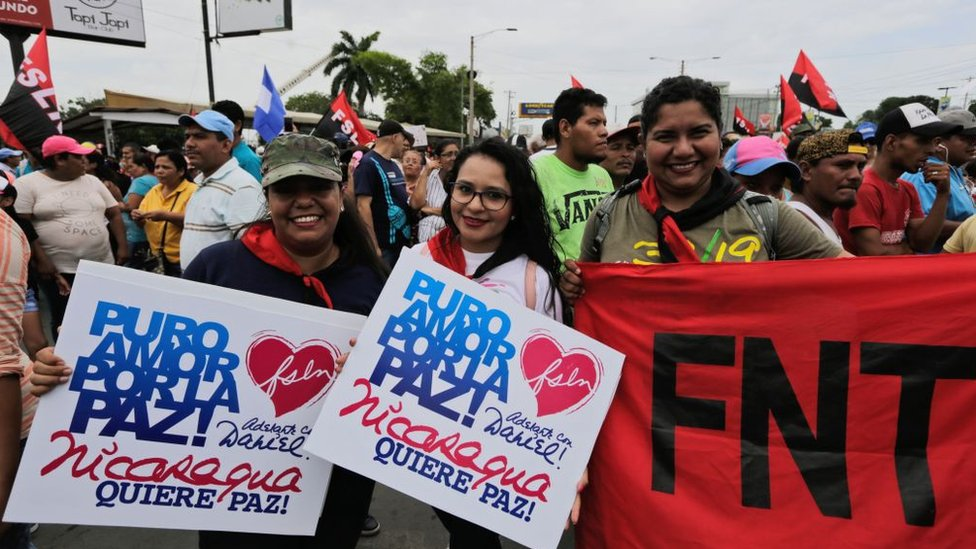 Seguidores de Ortega en Managua.