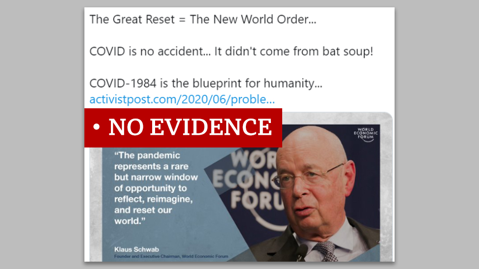 "Screenshot of a tweet that says ""The Great Reset = The New World Order..."" We added a ""no evidence"" label."
