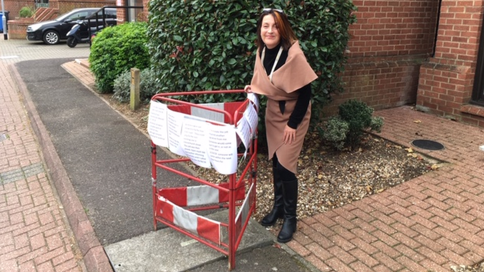 A safety frame was placed on top of the loose manhole cover outside Christchurch Court, a complex of flats for retired people