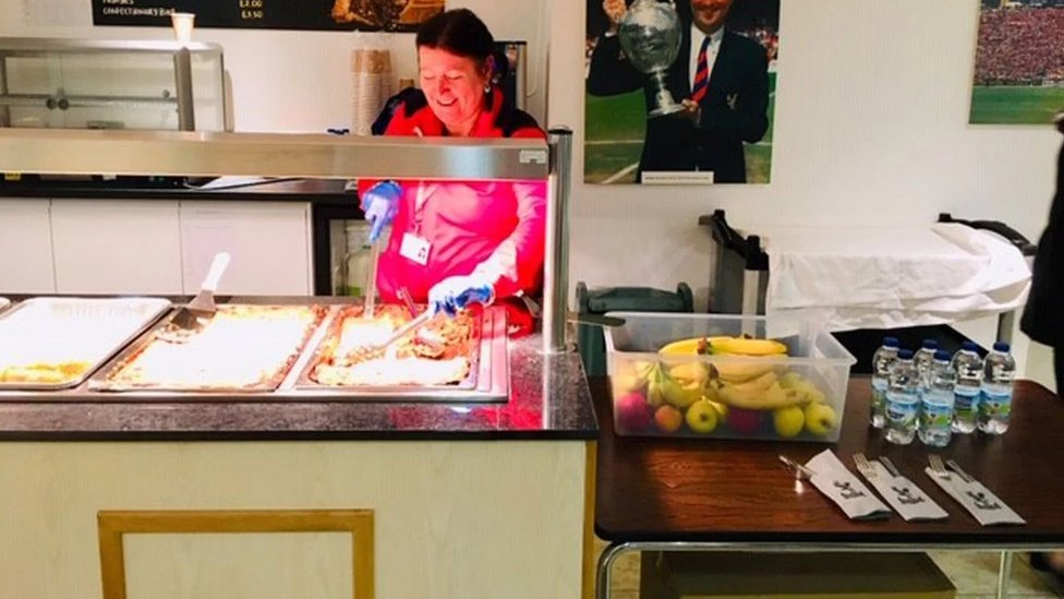 Hot food being served at Crystal Palace's ground
