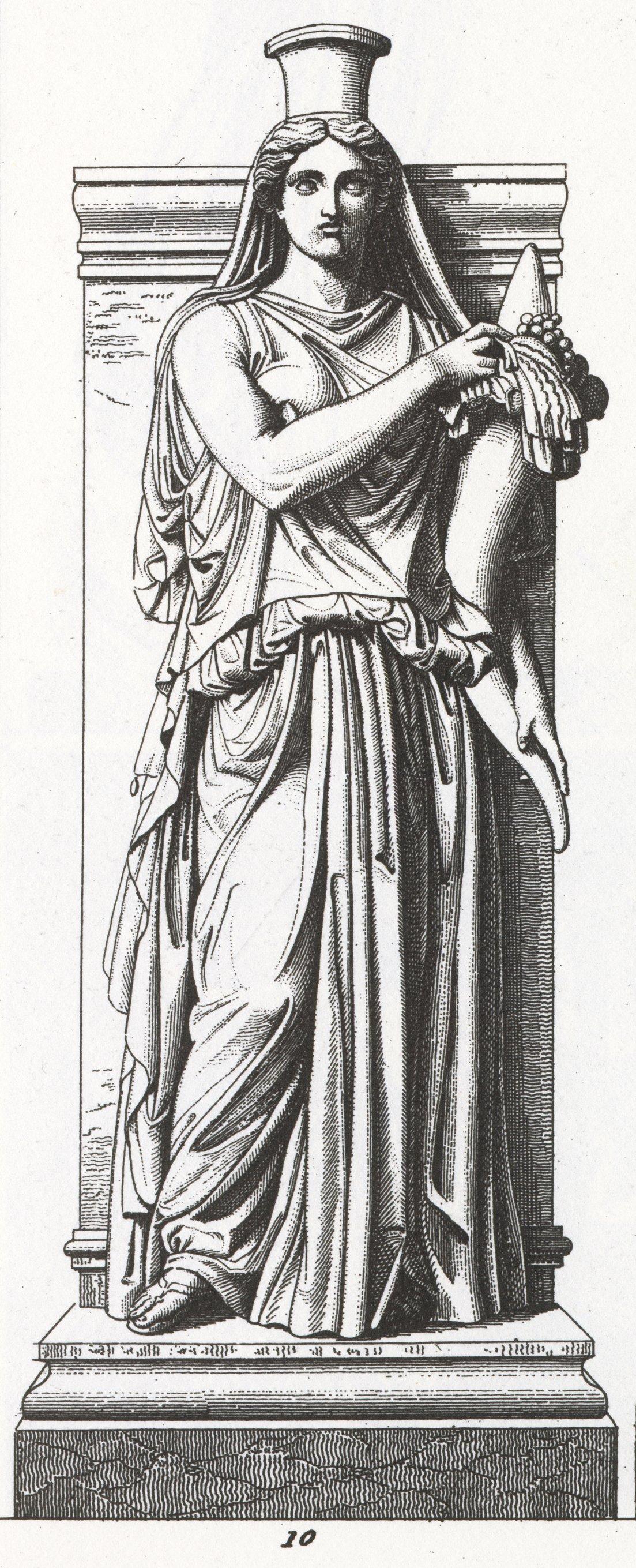 Grabado de una estatua de Felicitas