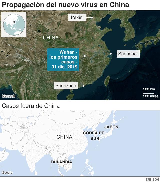 Mapa de la propagación del virus en y fuera de China