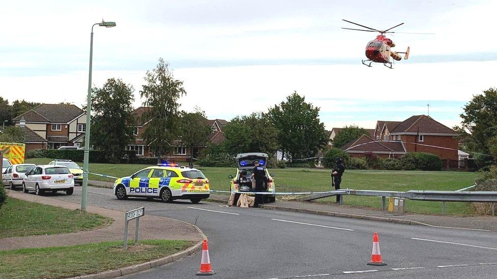 Emergency services at the scene in Grange Farm, Kesgrave