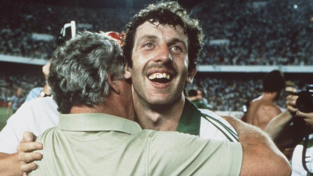 Gerry Armstrong embraces then Northern Ireland manager Billy Bingham after the victory over hosts Spain at the 1982 World Cup