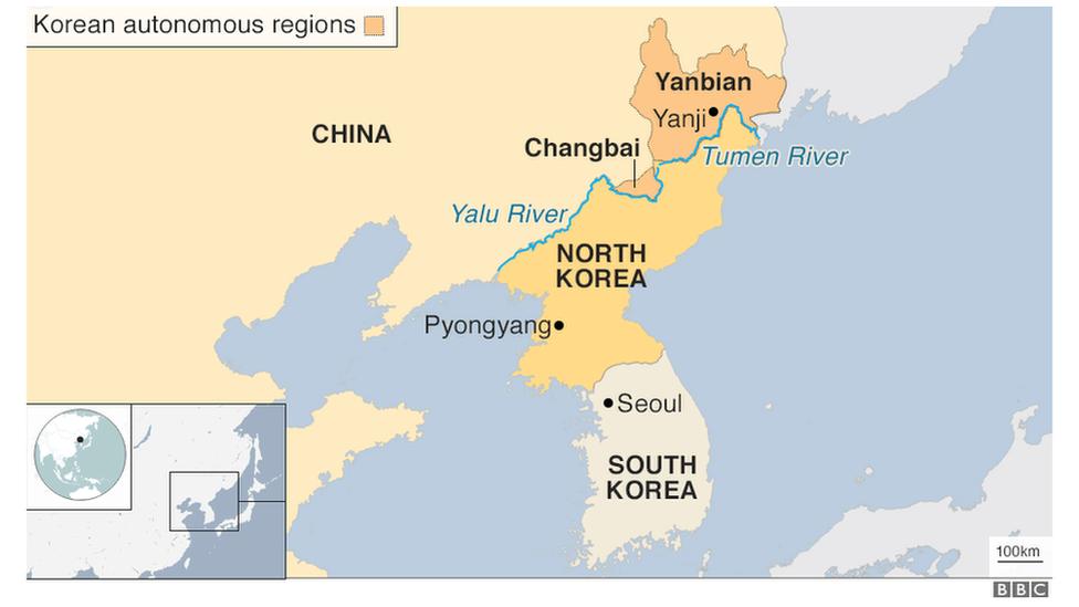 Map showing China's southern border with North Korea