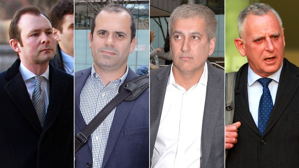 Libor traders, from left to right: Jonathan Mathew; Alex Pabon; Jay Merchant; and Peter Johnson