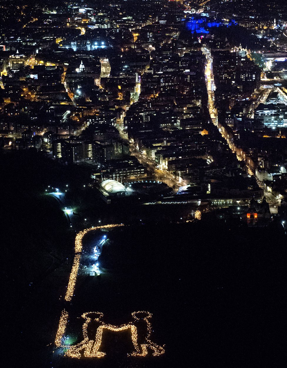 Torchlight procession from the air