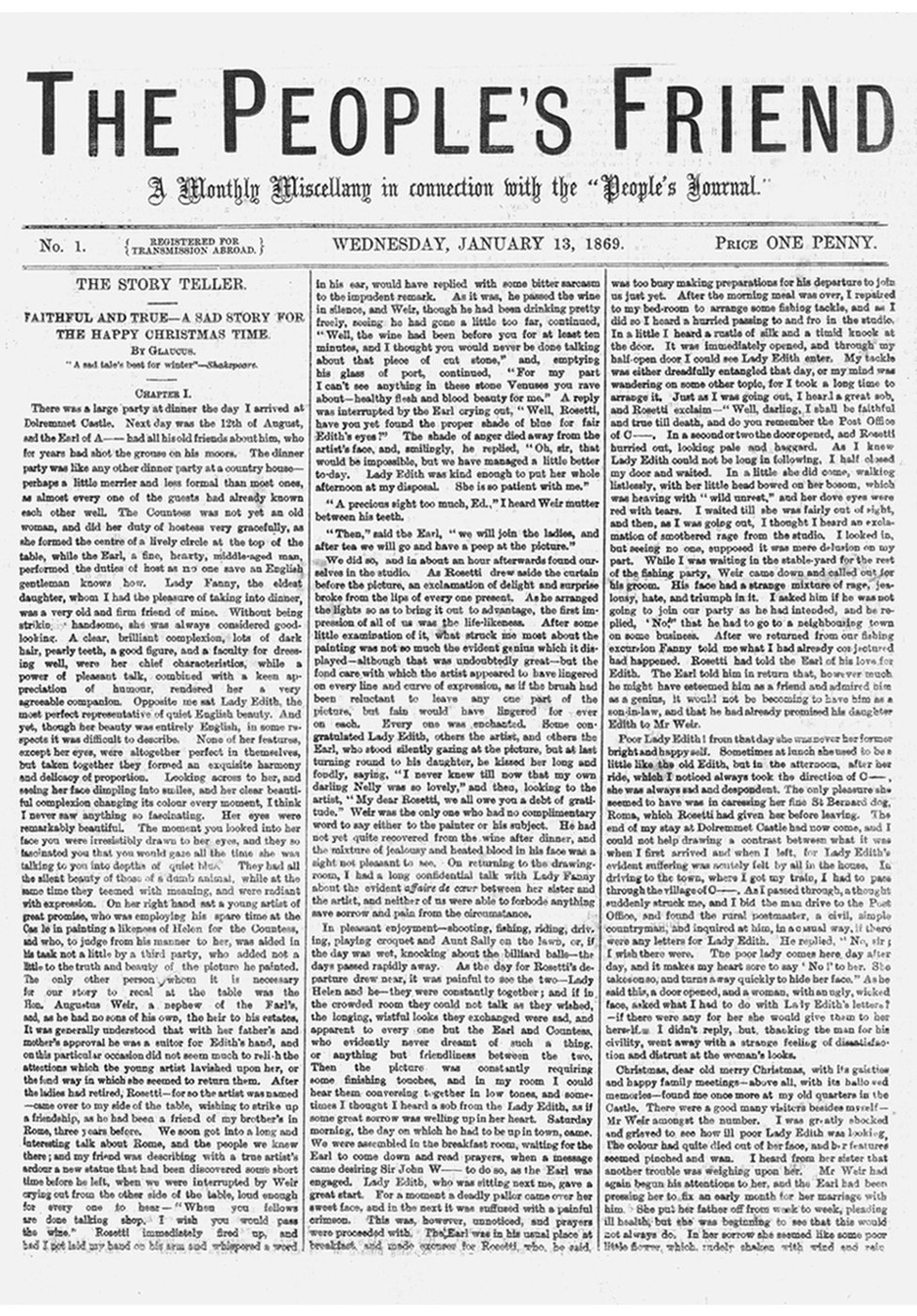The first ever edition of the People's Friend in January 1869