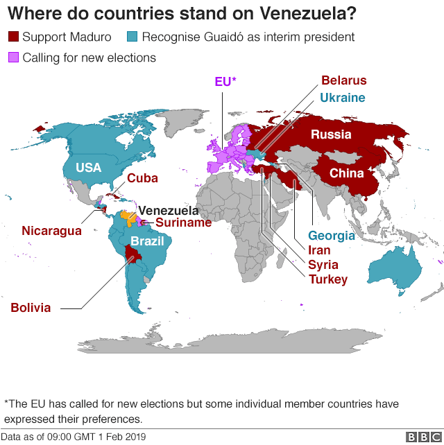Map shows where countries stand on Venezuela presidency (CORRECTED)