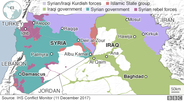 Map showing control of Syria and Iraq (11 December 2017)
