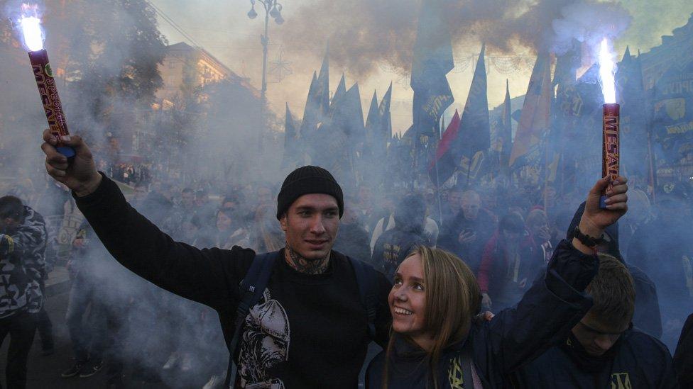 Manifestación nacionalista en Kiev, Ucrania.