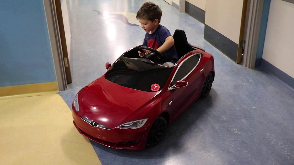 Mini Tesla donated for children at Swindon hospital