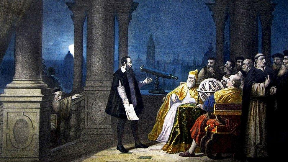 Galileo mostrándole su telescopio al dux Leonardo Donato (pintado por H. J. Detouche).