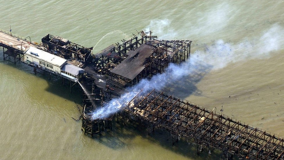 Aerial view of Southend Pier after the fire in 2005