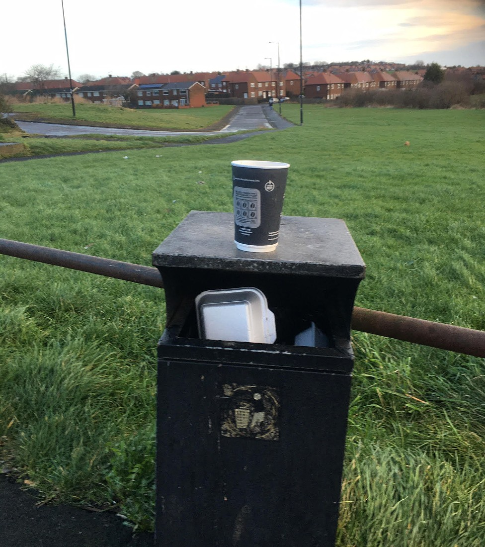 The dustbin where the snakes were found