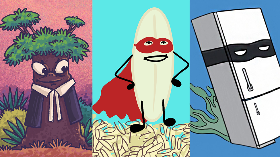 Collage featuring a tree dressed as a lawyer, a grain of rice dressed as a superhero and a fridge, dressed as a villain fleeing