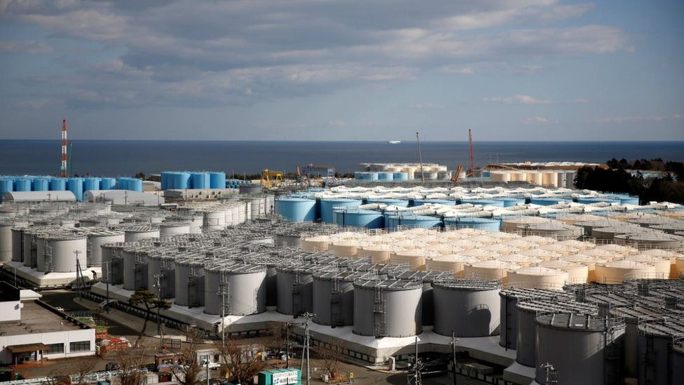 福島第一核電站內儲存冷卻廢水的水缸群(資料圖片)