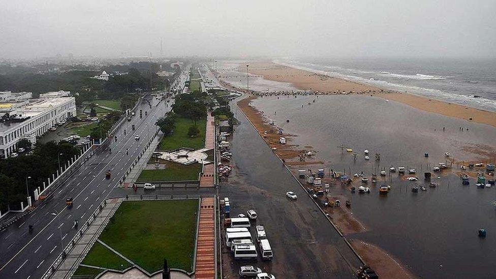 A view the Marina Beach during heavy downpour in Chennai.