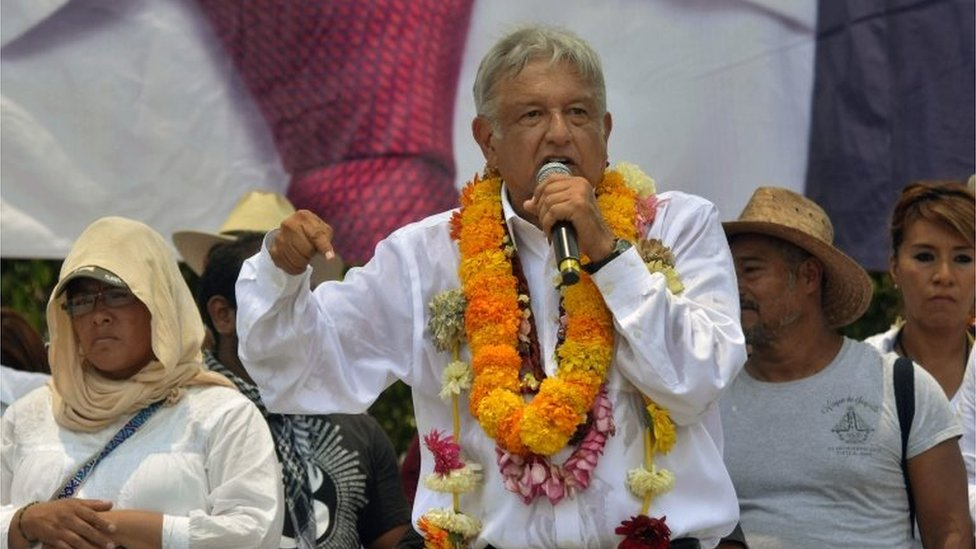 Mexico's presidential candidate for the Morena party, Andres Manuel Lopez Obrador, delivers a speech during a campaign rally in Iguala, Guerrero state, Mexico on May 25, 2018